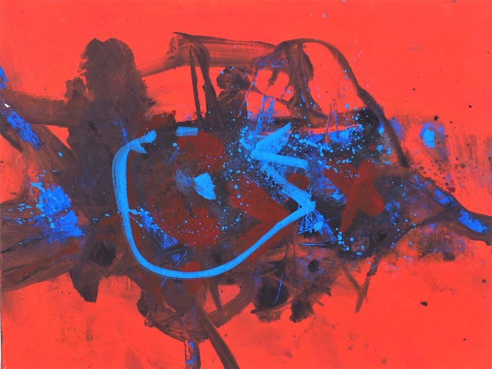Robert Grieve, Red Motif, c1985, acrylic on canvas, 51 x 41cm $3000
