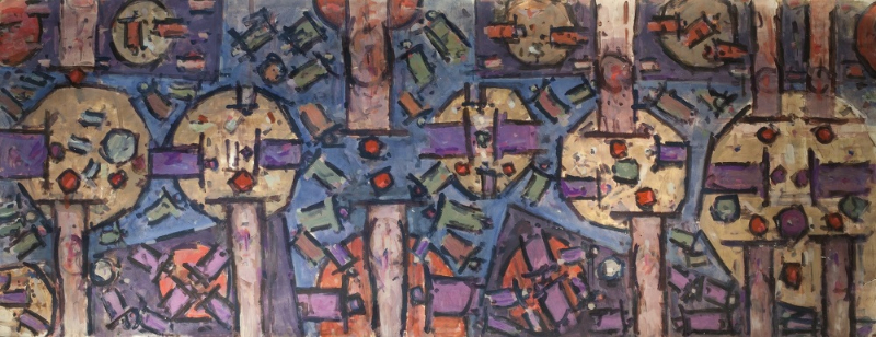Roger Kemp, Untitled c.1977, acrylic on paper mounted to linen, 150x384cm - sold