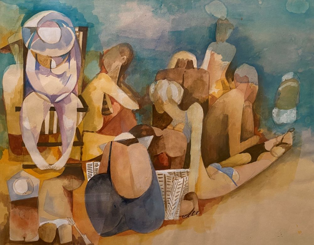 Dorothy Braund, Day at the Beach, c.1985, gouache on paper, 40x50cm $4800