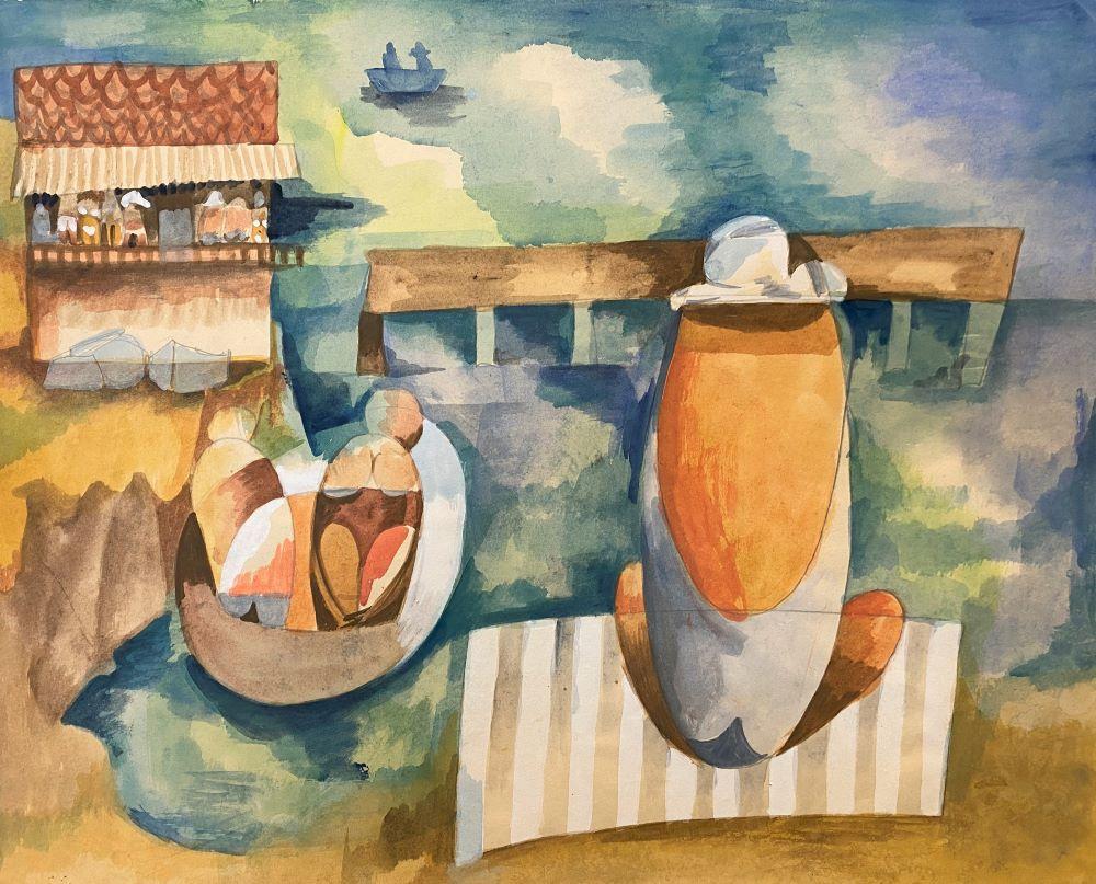 Dorothy Braund, Dinghy, 1982, gouache on paper, 30 x 49cm, $4800 framed