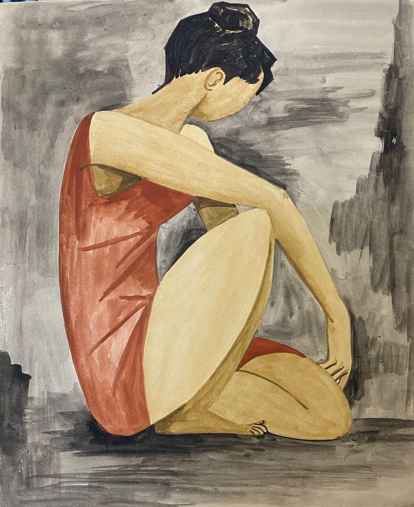 Dorothy Braund,Dancer, 1960, watercolour on paper, 45 x 38cm, $4800 framed