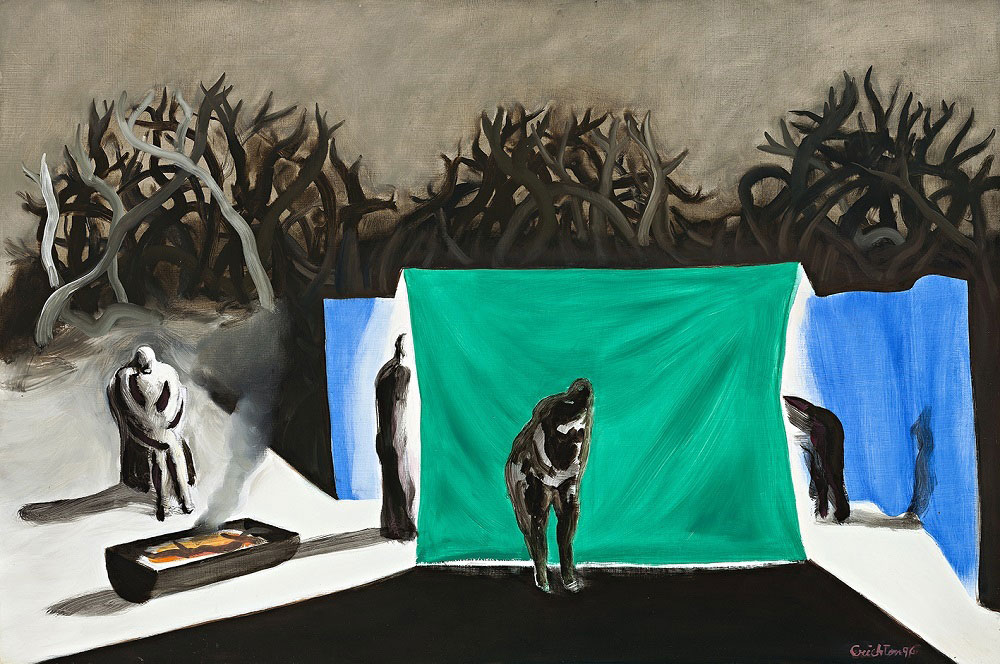Campsite with Tent, 1995, oil on board, 61 x 92cm