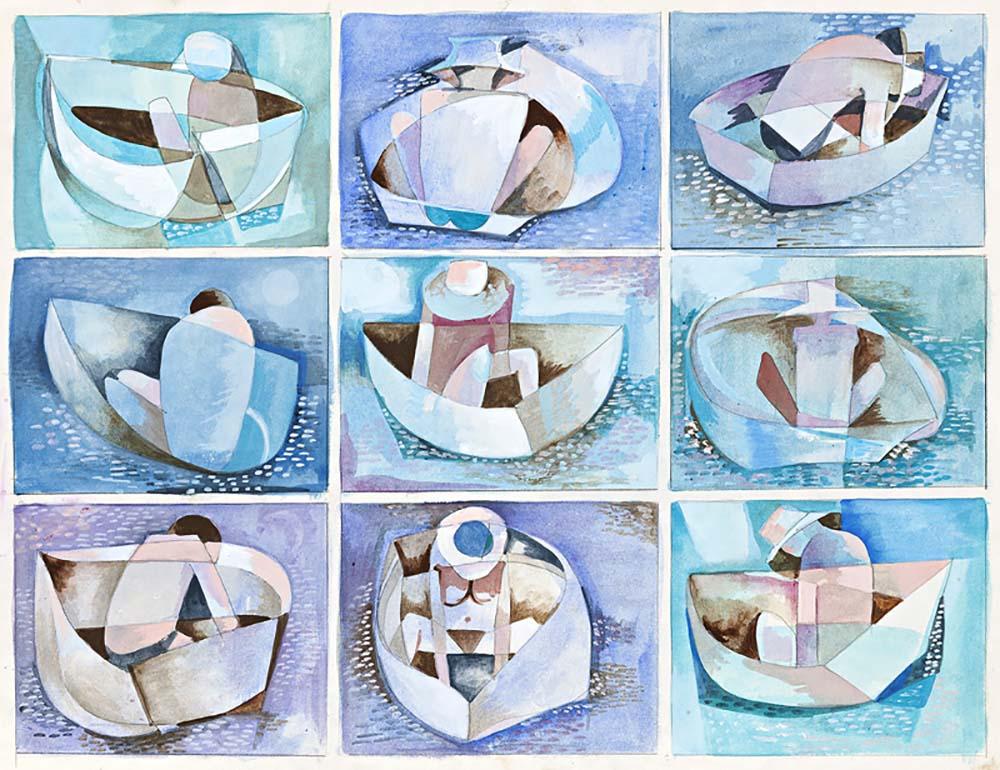 Dinghie, 1974, Gouache on Paper, 38x51cm