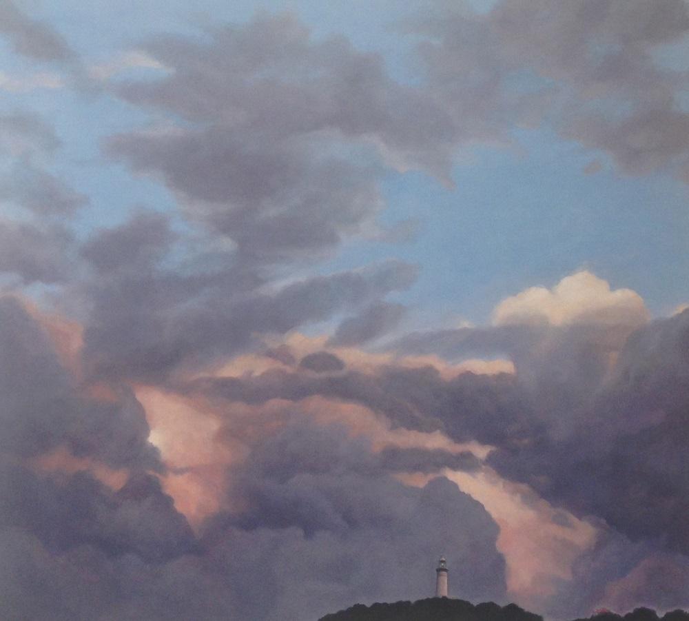 Jill Kempson, Lighthouse-Byron Bay, 2016, oil on canvas 100x 92cms, $5500