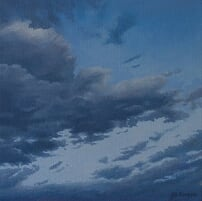 Jill Kempson, Clouds over Waychinicup, 2017, oil on canvas, 30x30cm $1500