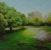 Jill Kempson, The Citrus Grove, 2017, oil on canvas, 30x30cm $1500