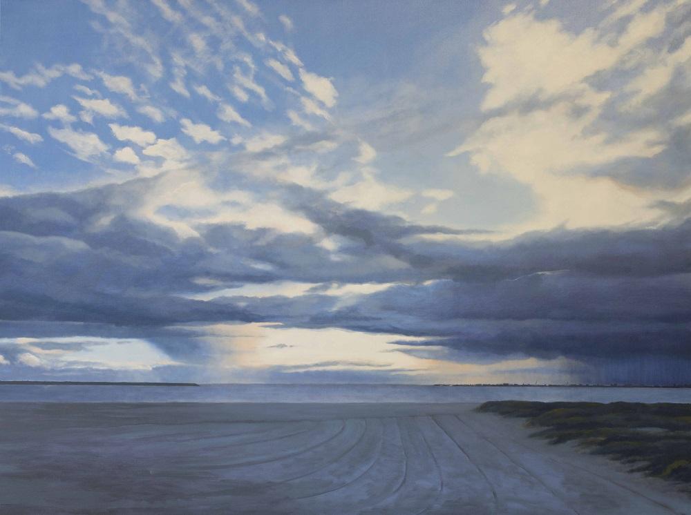 Jill Kempson, Clouds - St Kilda Beach, 2017, oil on canvas, 95 x 120cm $6000