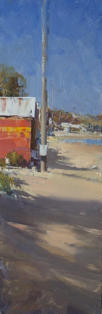 Ken Knight, Brighton Beach, oil on board, 82x27cm, $5800