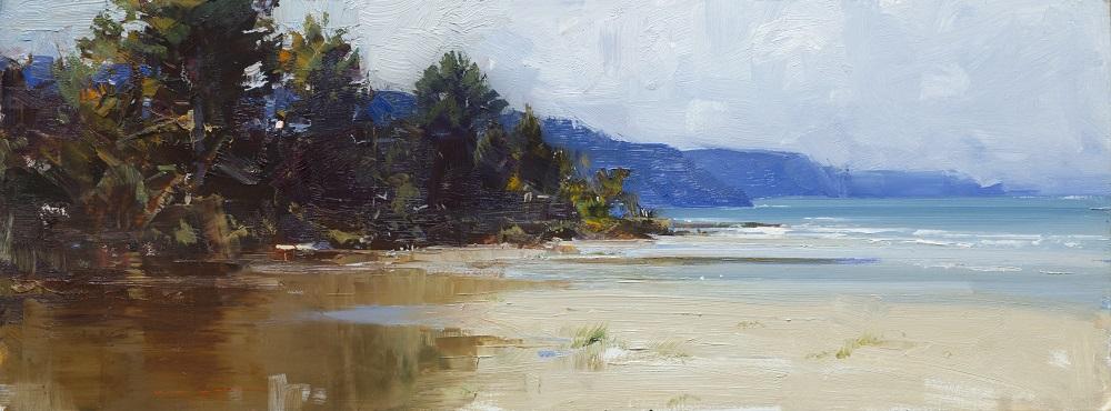 Ken Knight, Erskine Creek, Lorne, oil on linen, 31x83cm $5800