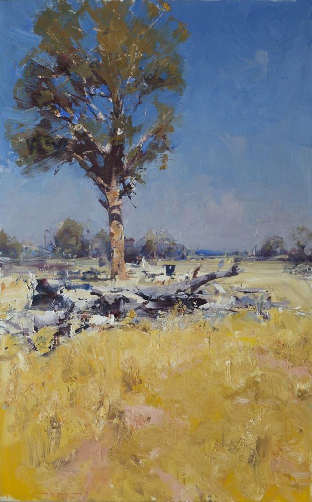 Ken Knight, Golden Fields, Western District, oil on board, 101x63cm $9800