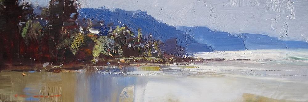 Ken Knight, Morning Glitter, Lorne, oil on board,15x50 cm SOLD
