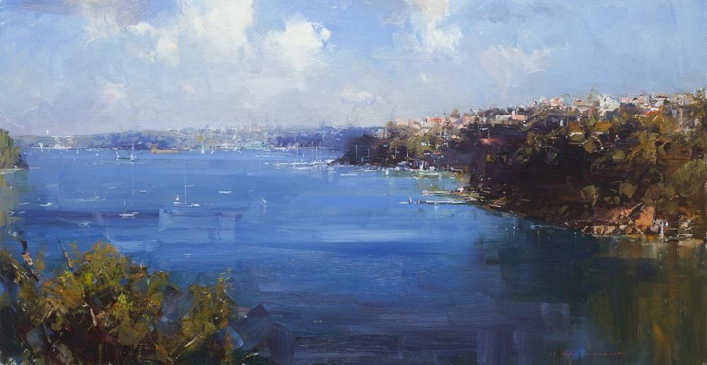 Ken Knight, Neutral Bay, Sydney Harbour, oil on board, 64x122cm SOLD