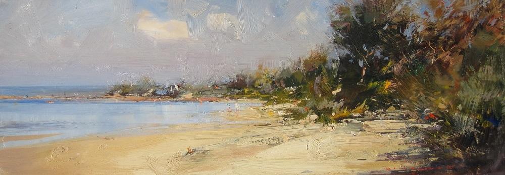 Ken Knight, Ricketts Point, oil on board, 21x60 cm, $4600