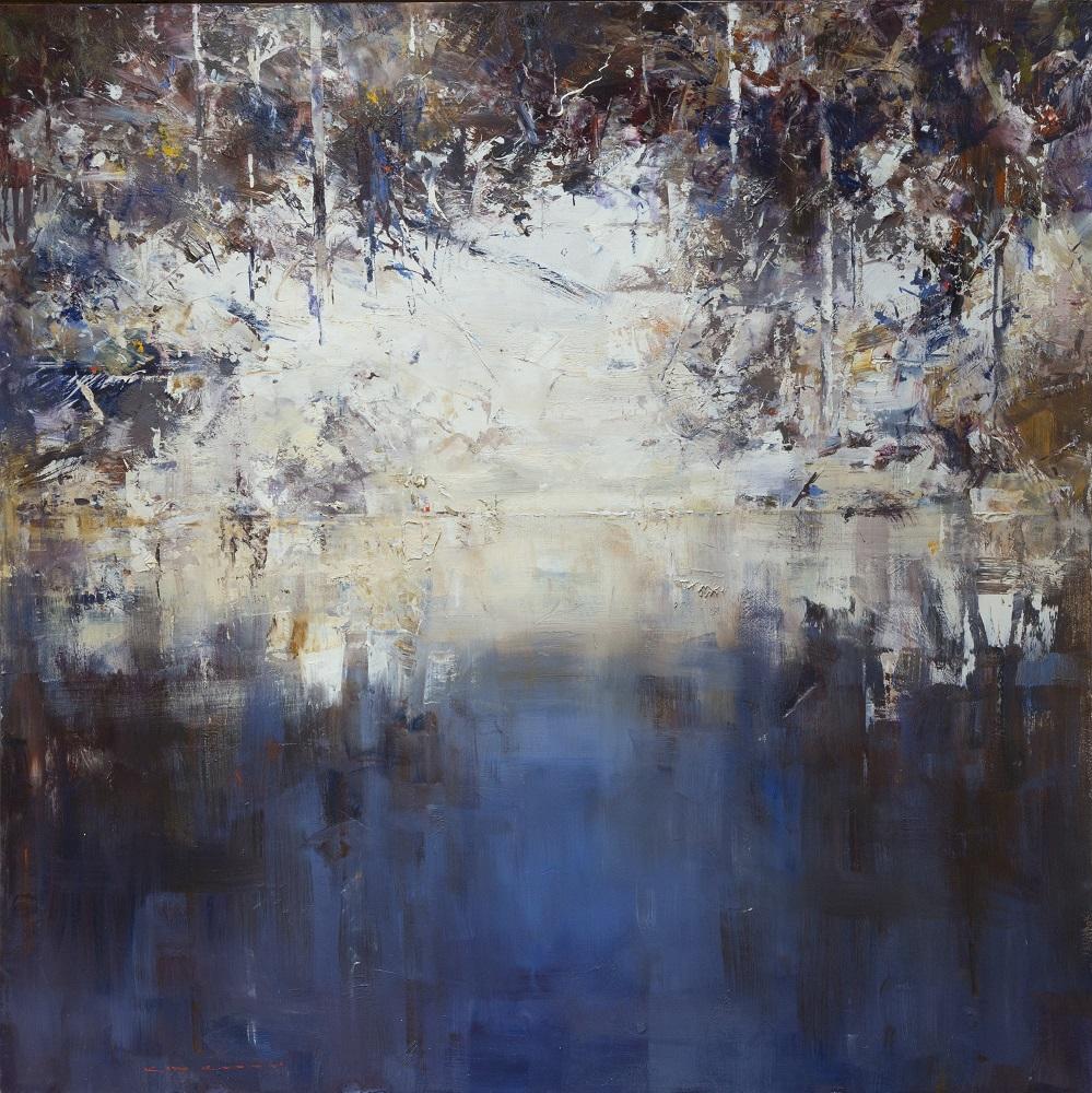 Ken Knight, Riverbank, oil on board, 121x121cm, SOLD