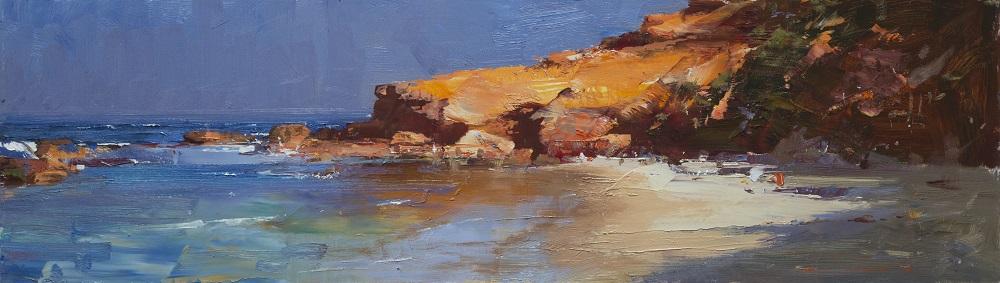 Ken Knight, Sorrento Ocean Beach, oil on board, 30x101cm SOLD
