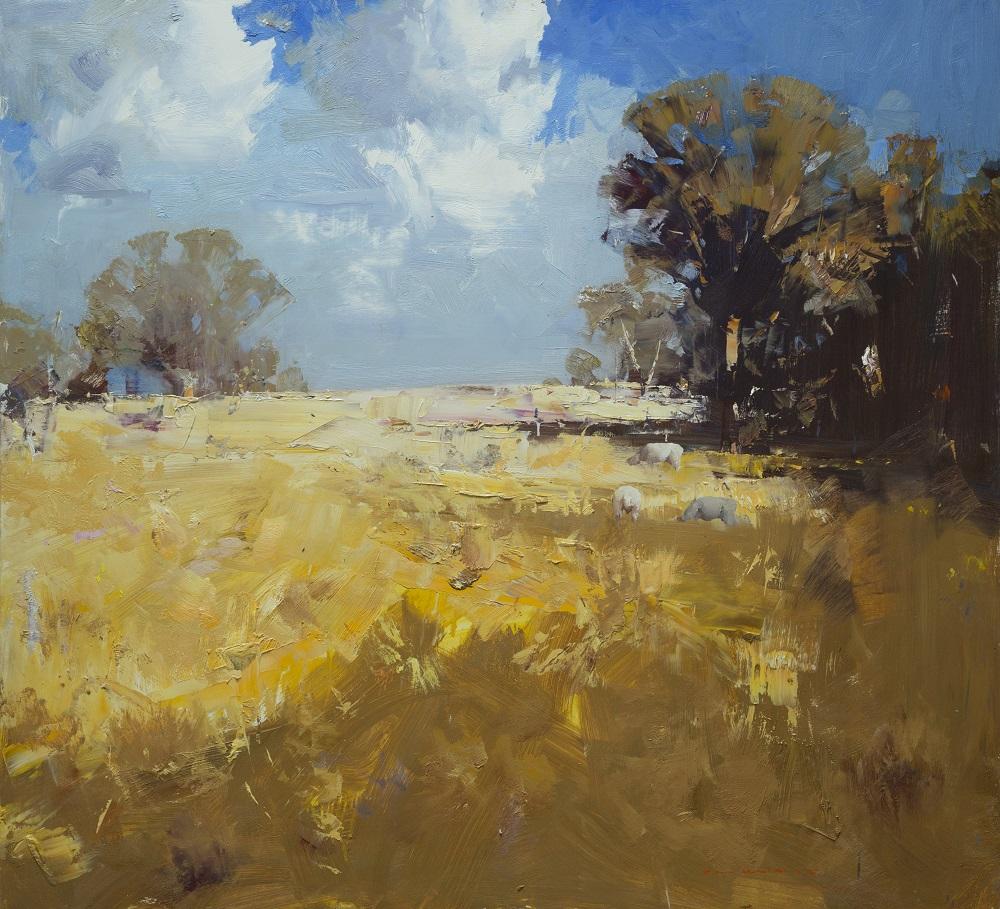 Ken Knight, Summer Skies, Western District, oil on board 92 x 101cm $12,800