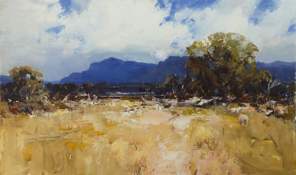 Ken Knight, Western District Landscape, Dunkeld, oil on board, 90x150cm $18,800