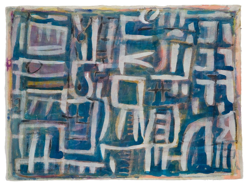 Wayne Eager, Blue Landscape, acrylic and gouache on paper, 56x76cm SOLD