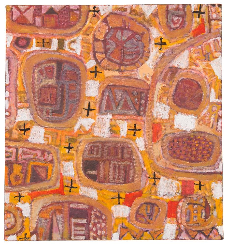 Wayne Eager, Boulders, acrylic on linen,100 x 102cm $4800