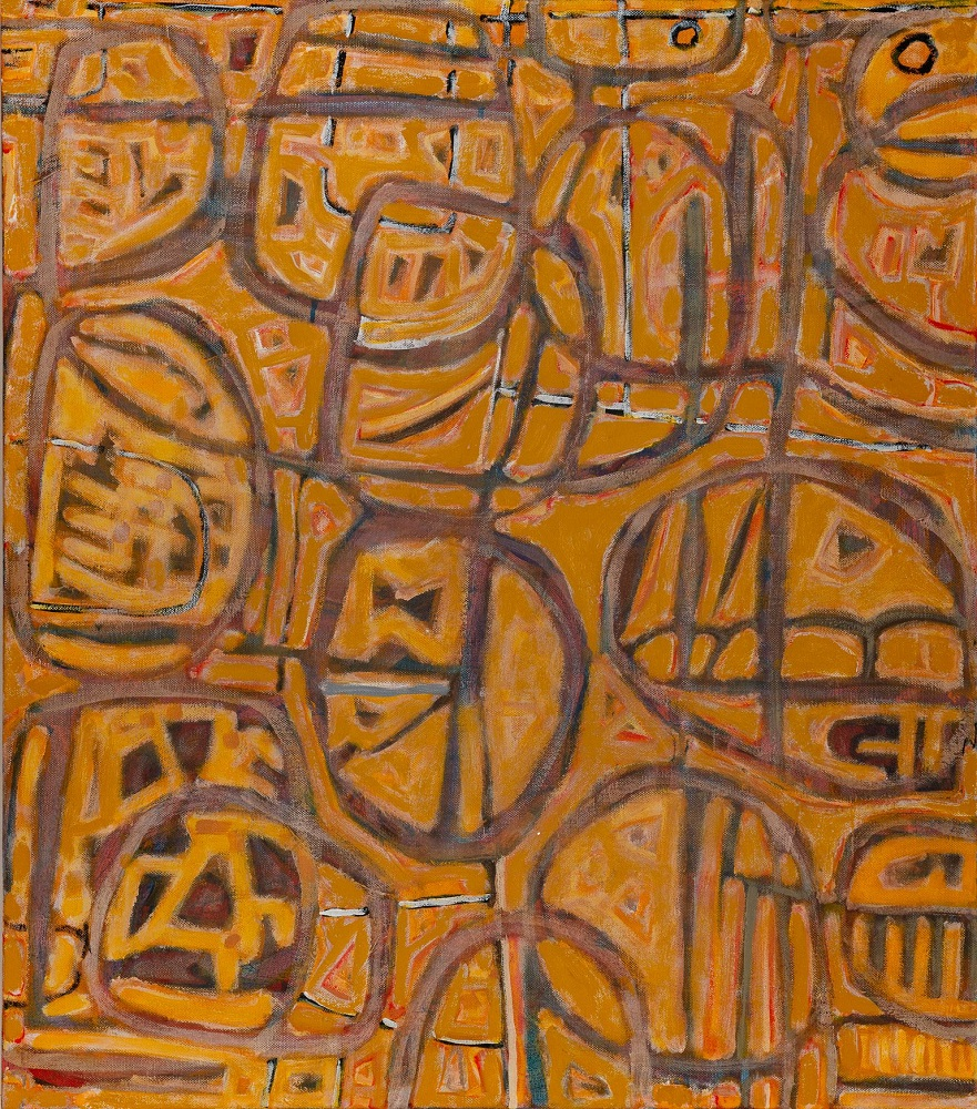 Wayne Eager, Outback Rocks, acrylic on linen, 91 x 115cm $4500