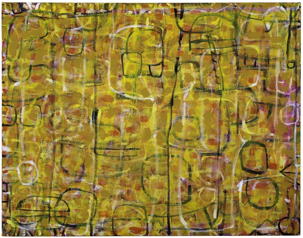 Wayne Eager, Pink Acacia III, acrylic on linen, 137x175.5cm $8000