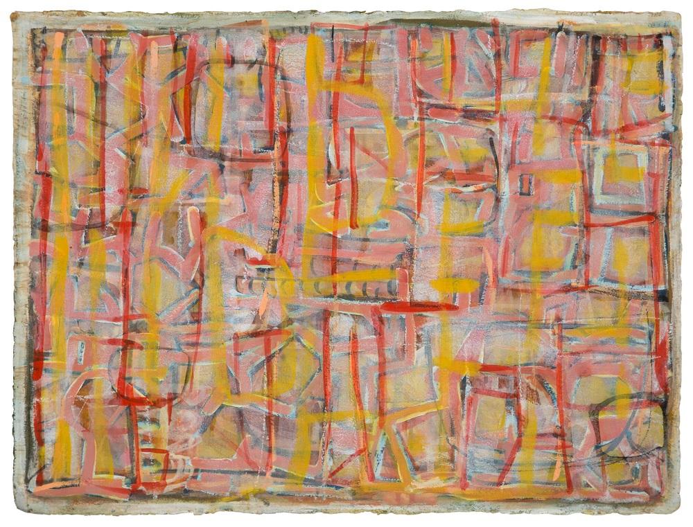 Wayne Eager, Pink landscape, gouache & acrylic on paper, 57x76cm SOLD