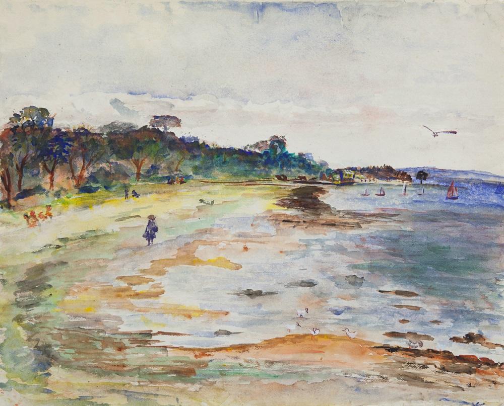Hal Hattam, Town Beach, gouache on paper, 45 x 56cm $3800