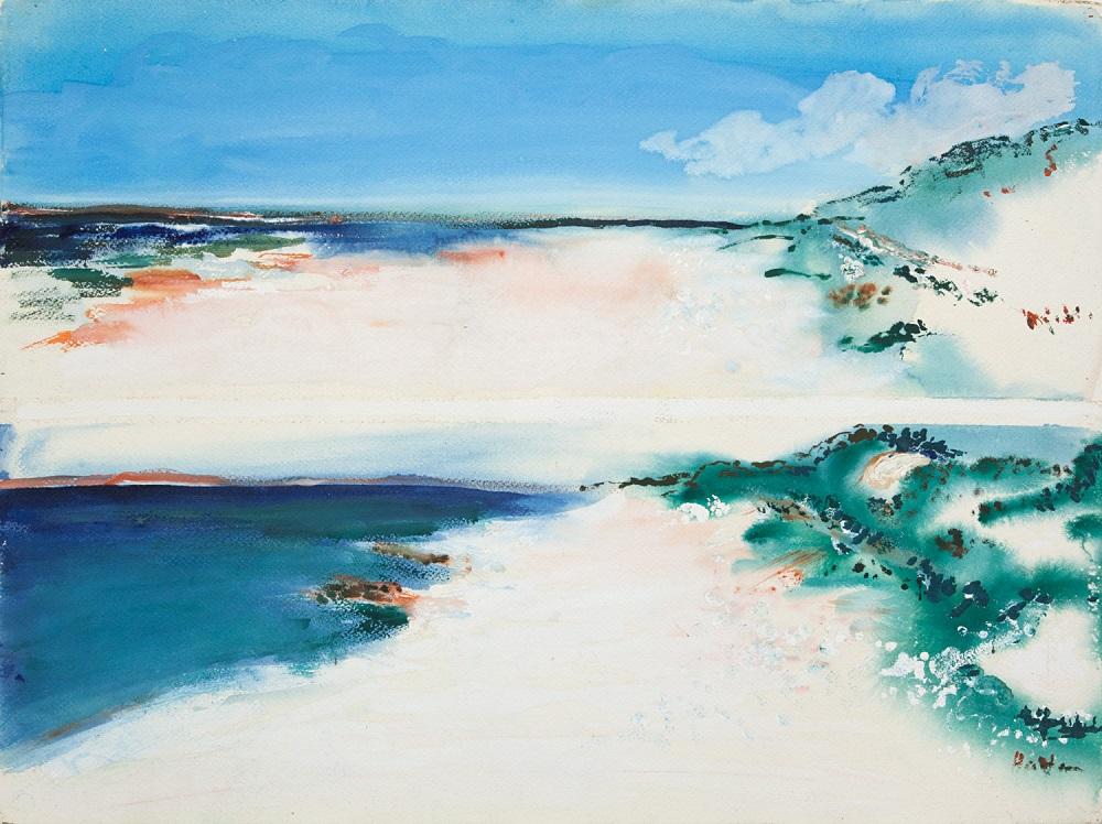 Hal Hattam, Sandbar, gouache on paper, signed, 56 x 76cm $4400