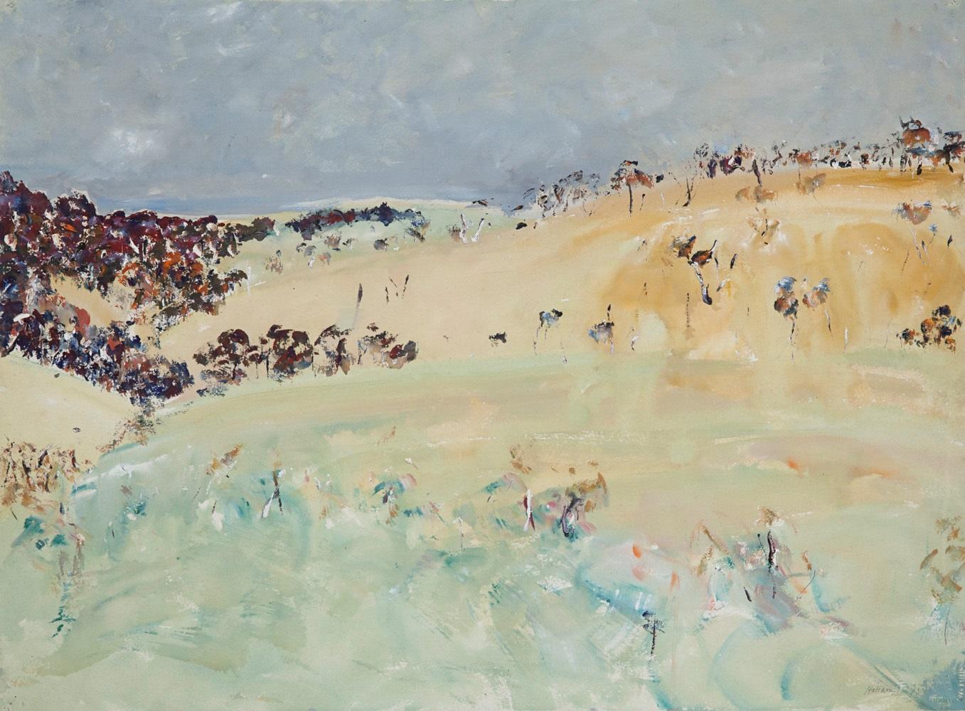 Hal Hattam, Shoreham Hillside, gouache on paper, 56x76cm SOLD