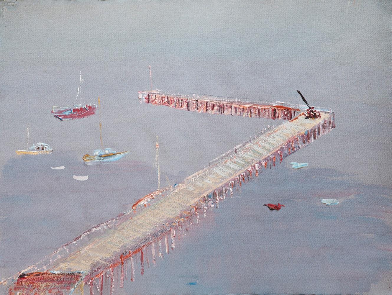 Hal Hattam, Pier-Flinders, gouache on paper, 56x75cm $4400 SOLD