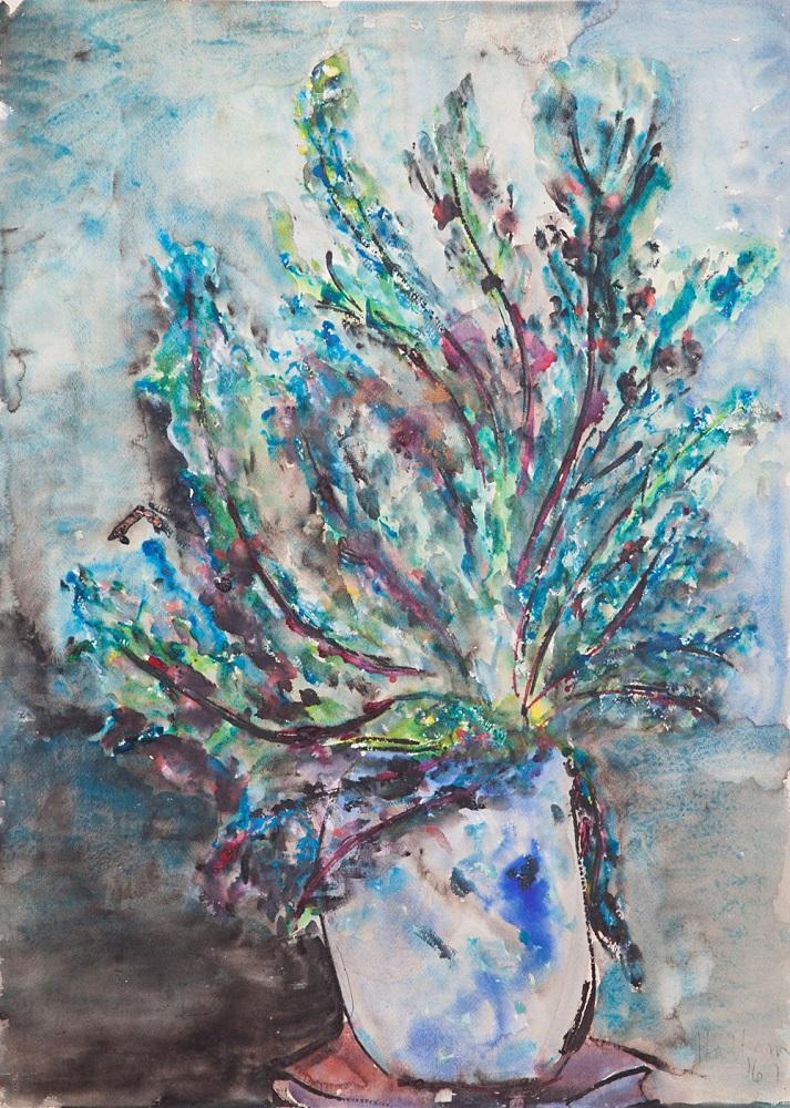 Hal Hattam, Still Life Two, gouache on paper, 56x75cm $4400