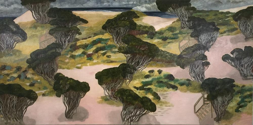 Anne Howie, Kimono Beach, 2012, oil on linen 91 x 183cm  SOLD