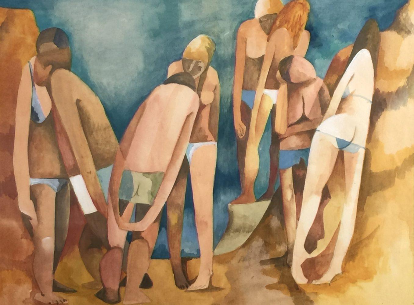 Dorothy Braund, Beach Bodies c.1985, gouache on paper, 40 x 50cm $4800