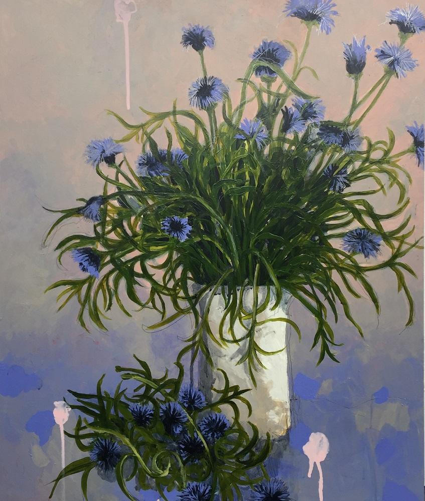 Robbie Harmsworth, Cornflowers, 2018, acrylic on board, 60x50cm $2500