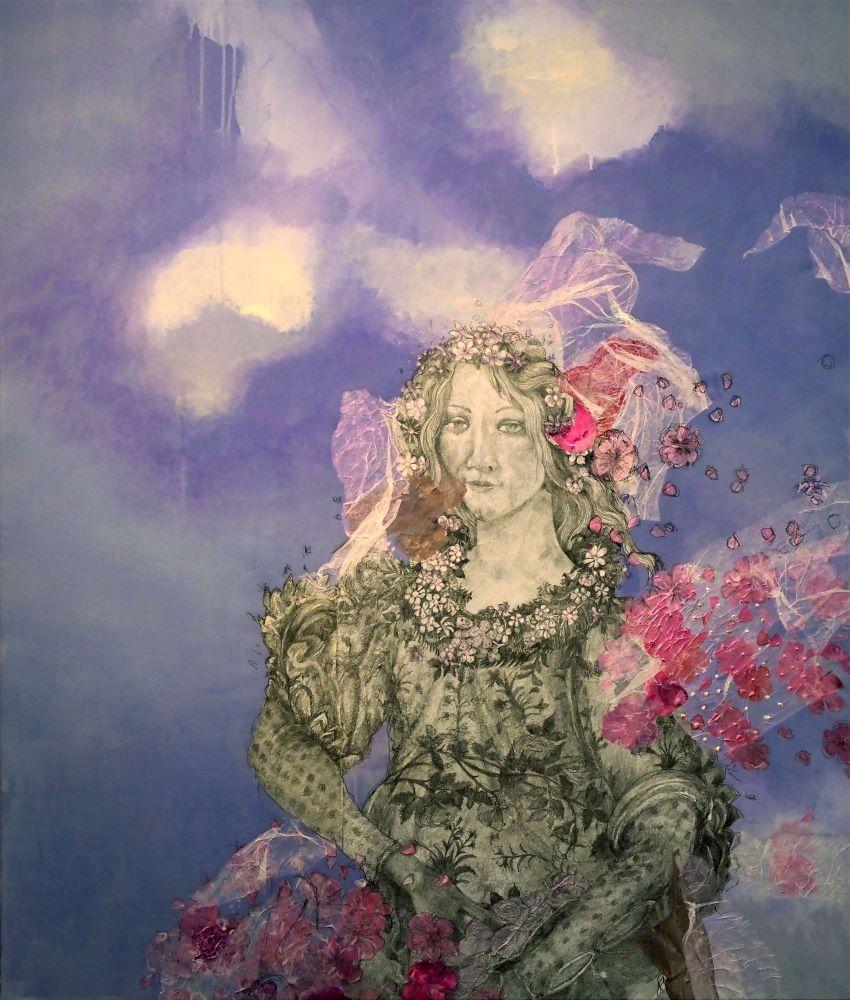 Robbie Harmsworth, On Beauty IX, 2019, graphite, acrylic, collage on linen, 129 x 109 cm