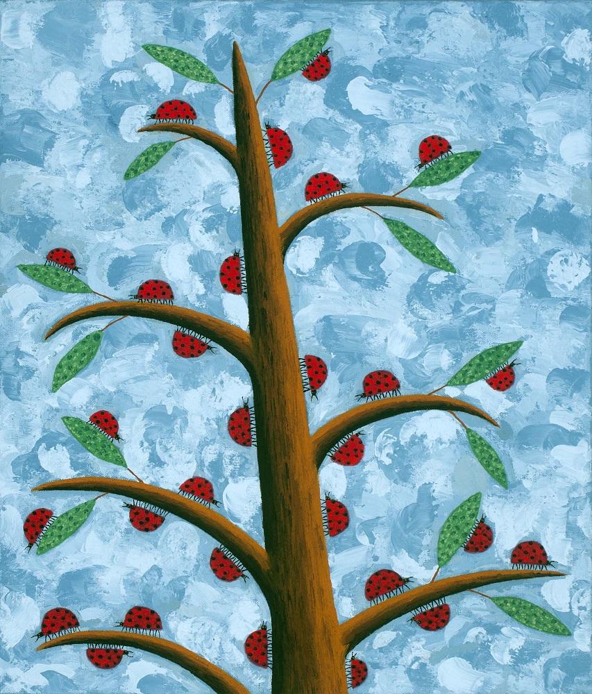 Dean Bowen, Ladybird Cluster, 2013,  oil on linen, 53 x 45 cm $4400