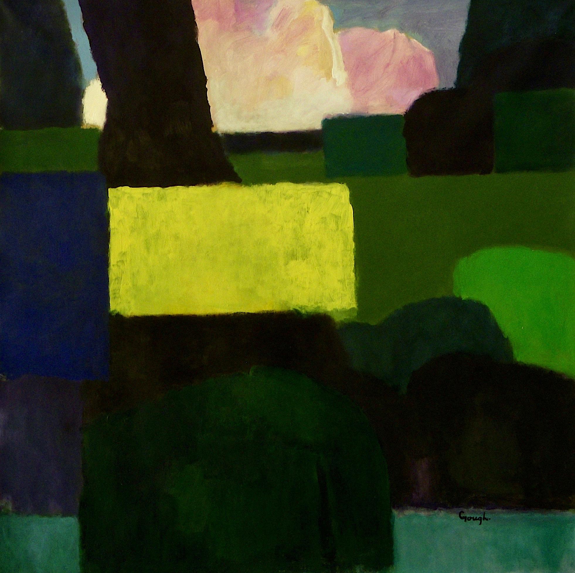 Craig Gough, 'Colour Dialogue With Yellow'. 2019. acrylic on canvas. 137x137cms $8000 - enquire