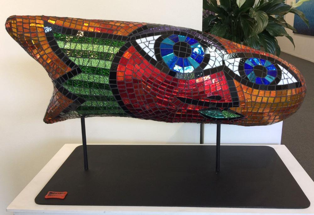 Deborah Halpern, Goldfish, 2019, mosaic, 60 x 90 x 25 cm, $18,000