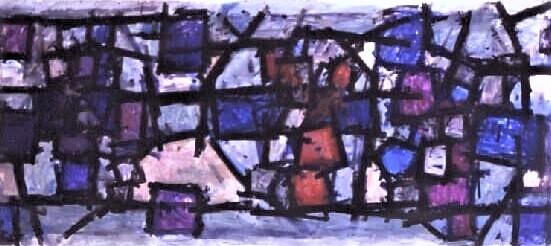 Roger Kemp, Untitled, c 1970,  acrylic on canvas, 126 x 300cm SOLD