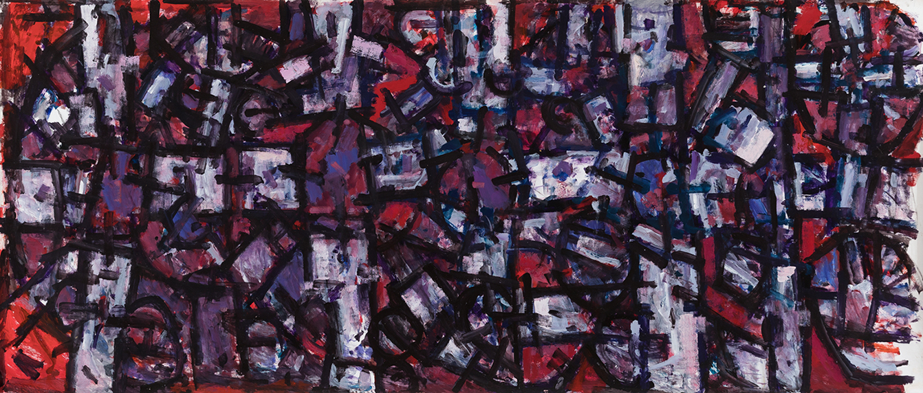Roger Kemp, Untitled c 1972, No.0090a, acrylic on paper mounted to linen, 150 x 350cm $90,000