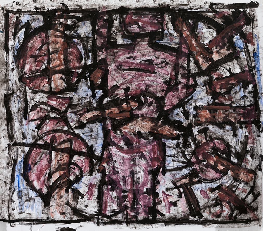 Roger Kemp, Untitled, c 1982, mixed media on paper mounted to linen, 140 x 160cm $35,000