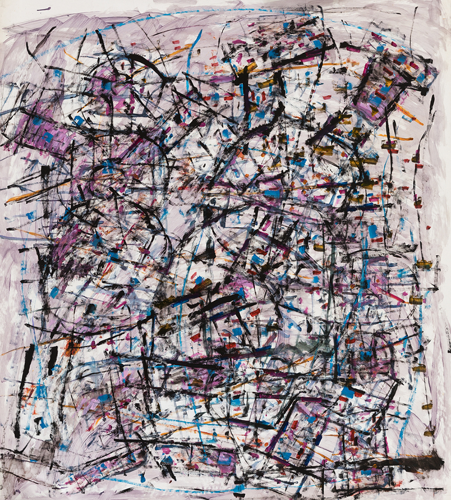 Roger Kemp, Untitled, c 1984, mixed media on paper mounted to linen, 160 x 140cm, SOLD