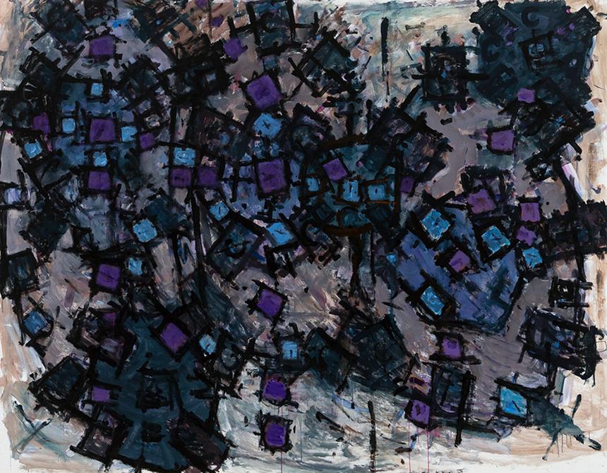 Roger Kemp. Untitled, c 1982, acrylic on canvas, 204 x 262cm SOLD
