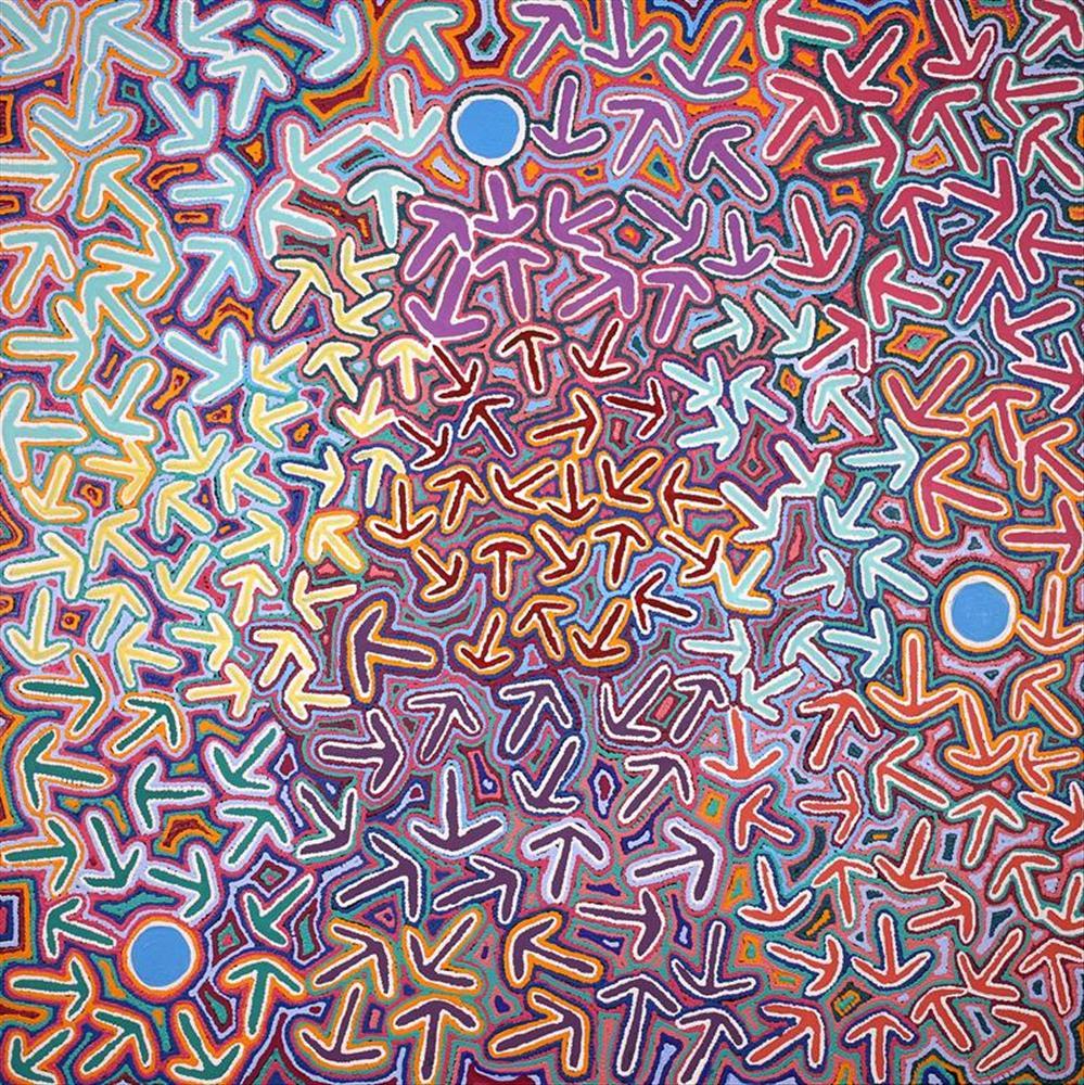 Jeffrey Jangala Gallagher, Yankirri Jukurrpa (Emu Dreaming) - Ngarlikurlangu, acrylic on canvas, 122 x 122cm SOLD