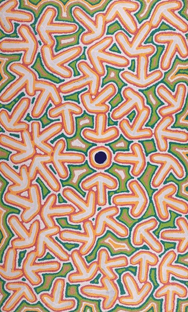 Jeffrey Jangala Gallagher, Yankirri Jukurrpa (Emu Dreaming) - Ngarlikurlangu, acrylic on canvas, 76 x 46cm  $750