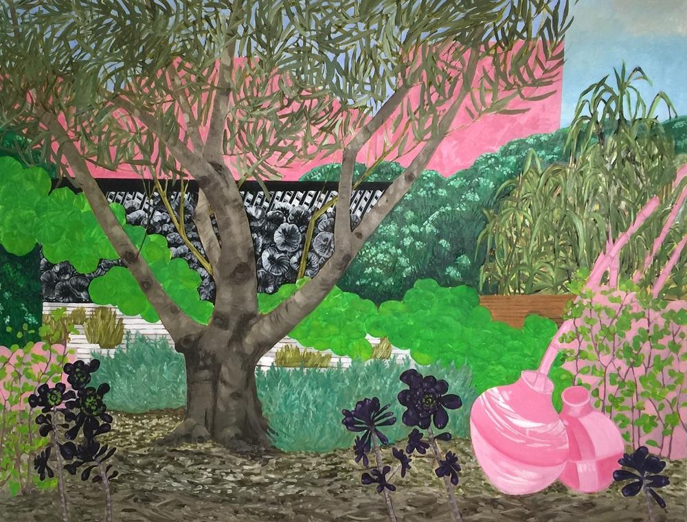 Anne Howie, Home Garden IV, 2017, oil on canvas, 93 x 120cm $5000