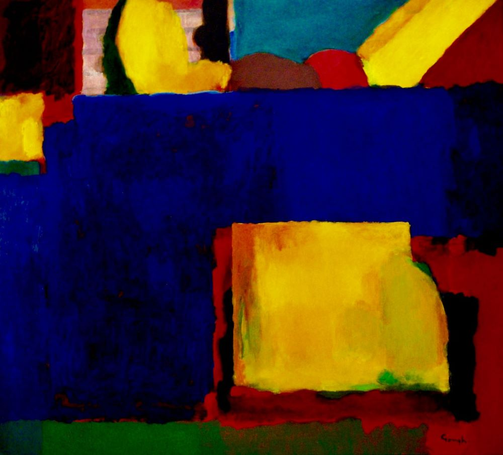 Craig Gough, Primary Garden Construct on Blue Field, 2019. acrylic on canvas. 152 x 167cm $12,000