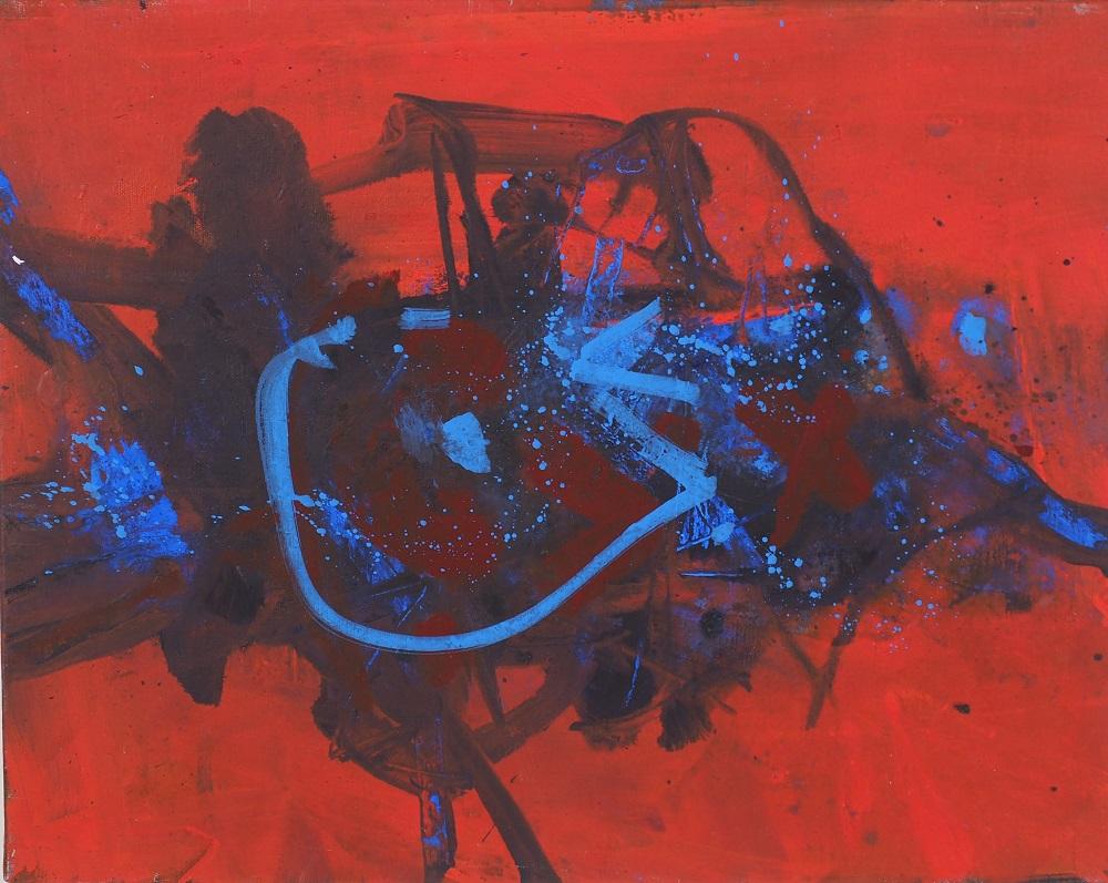 Robert Grieve, Red Motif, c1985, acrylic on canvas, 51 x 41cm SOLD