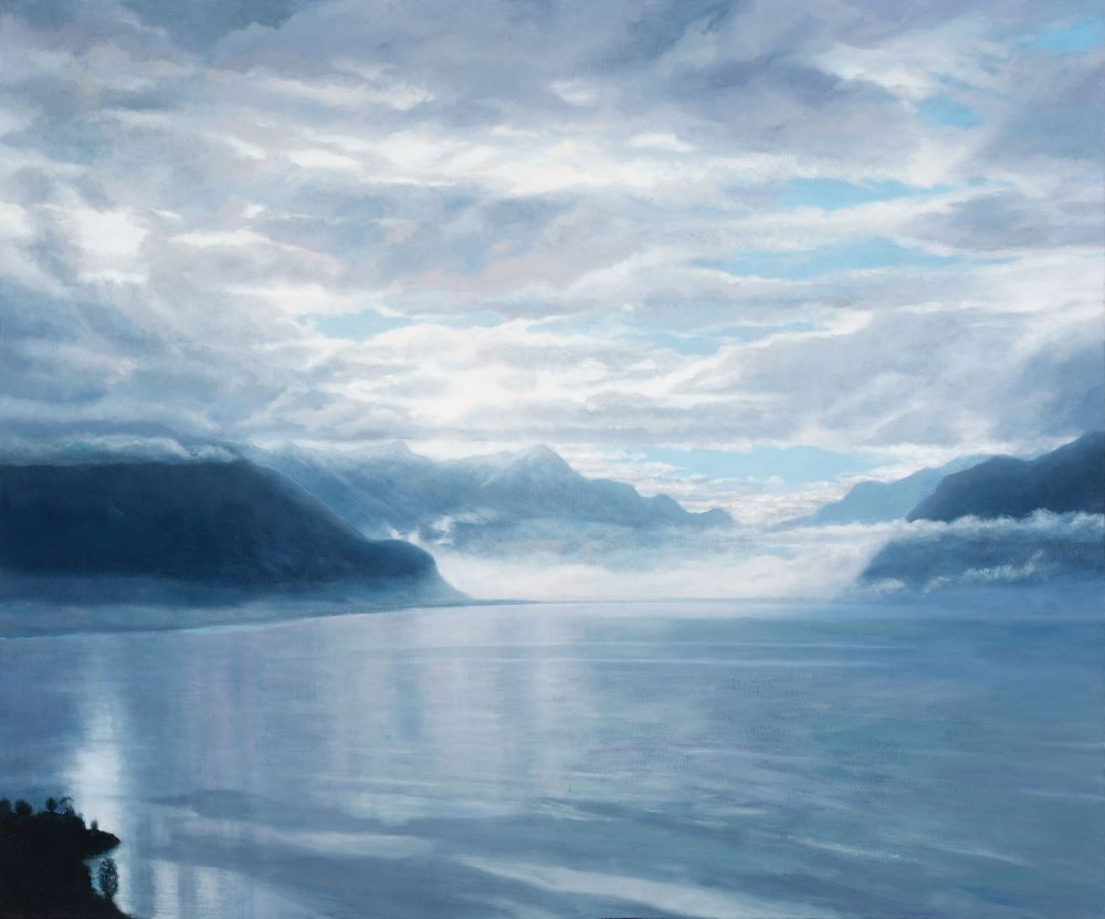 .Jill Kempson, As the Mist Descends-Lac Léman, 2019, Oil on Canvas, 120x100cms, $6000