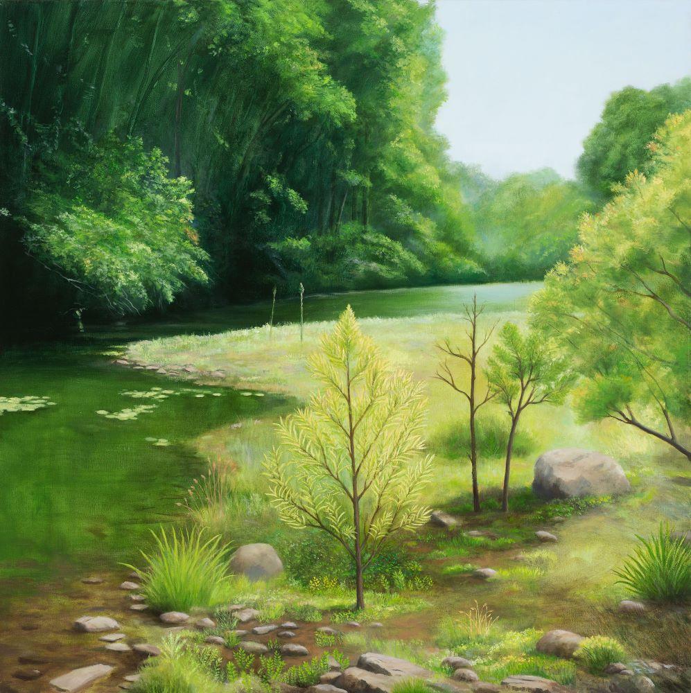 .Jill Kempson, As the River Flows, 2020, Oil on Canvas 100x100cms $5500